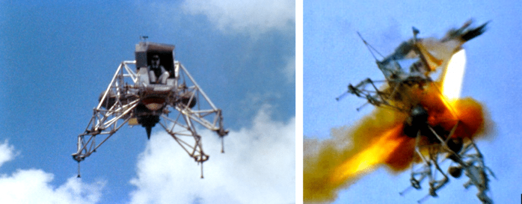Armstrong nearly died during the crash of his LLRV-1 training vehicle--but he brushed it off and went straight back to work. (Credit: NASA)