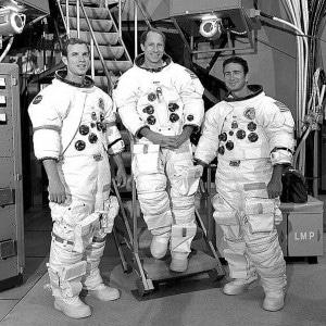 Al Worden (center) with this Apollo 15 crewmates, David Scott (left) and Jim Irwin. (Credit: NASA)