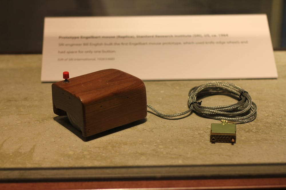 The prototype computer mouse Doug Engelbart used in his demo. (Credit: Michael Hicks)