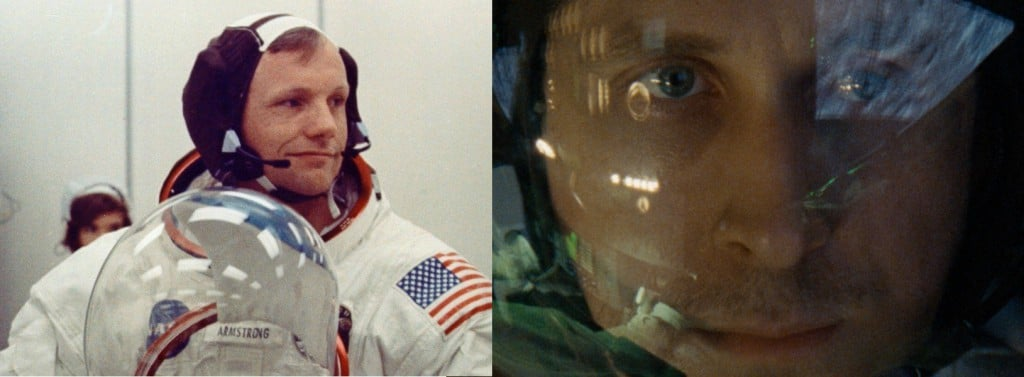The real Neil (left), suiting up for Apollo 11 on July 16, 1969; the movie Neil (right) gets his closeup. (Credit: NASA, Universal)