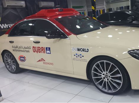 An autonomous taxi will take passengers around Dubai.