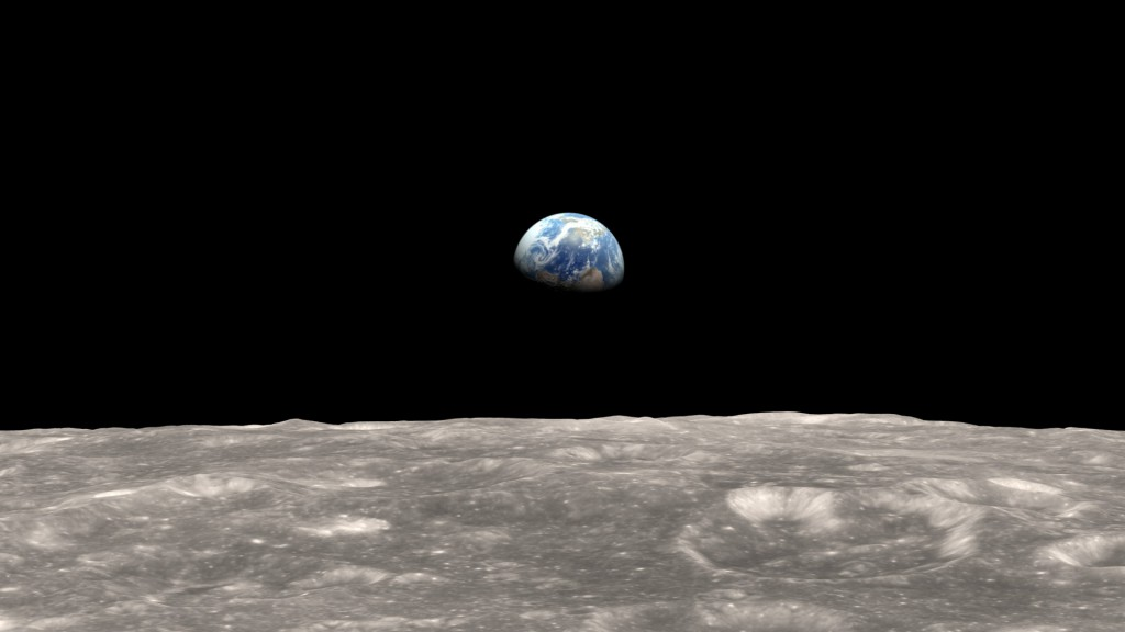 An idealized recreation of the Earthrise moment, courtesy of NASA Science Visualization Studio. This is part of a full video. (Credit: NASA)