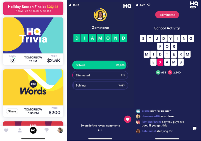 HQ Trivia launches HQ Words as reinstalled CEO seeks a game-changer