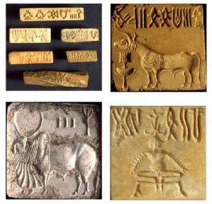Examples of short inscriptions on seals and tablets from the Indus (Credit: Rao et al, A Markov Model of the Indus Script, PNAS vol 106, 2009)
