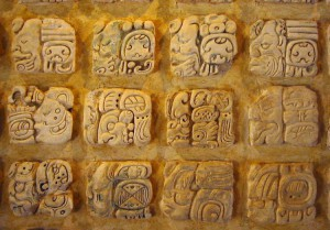 Example of Maya glyphs (Credit Kwamikagami, Wikipedia)
