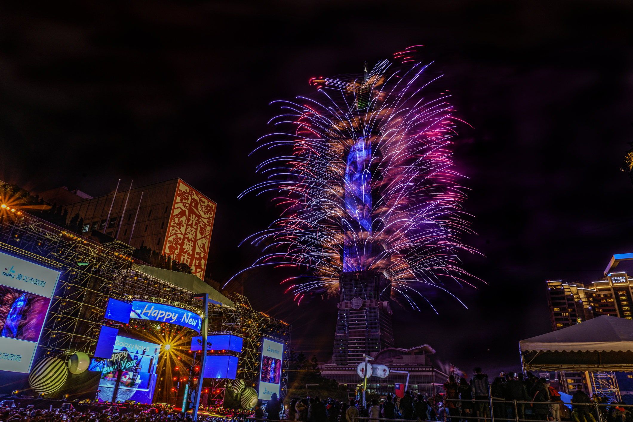 A look inside the Taipei 101 New Year's Eve fireworks show as it goes green