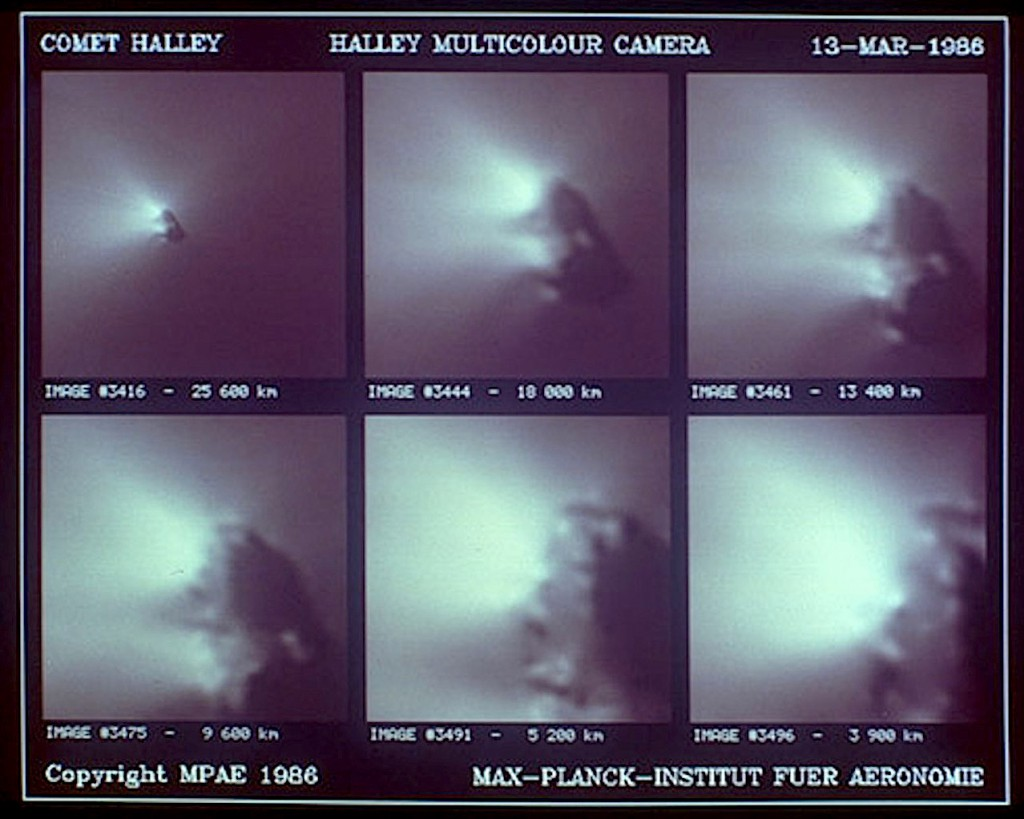 Images of Halley's Comet taken by Giotto during its encounter on March 13-14, 1986. (Credit: MPAE/ESA)