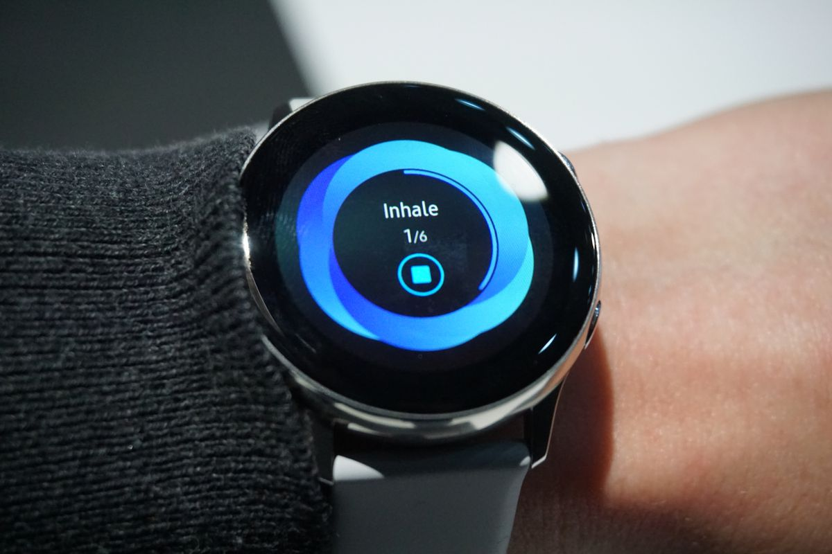 Samsung's guided breathing app for the Galaxy Watch Active.