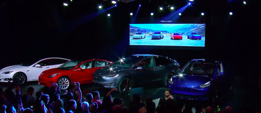 """The """"sexy"""" lineup of Tesla cars."""