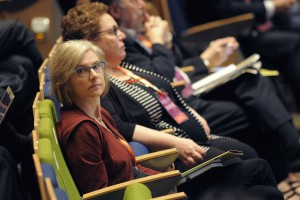 Jennifer Doudna, a pioneering CRISPR researcher from Stanford, listens to the presentations at a genome editing summit in Hong Kong. (Credit: Ernie Mastroianni/Discover)