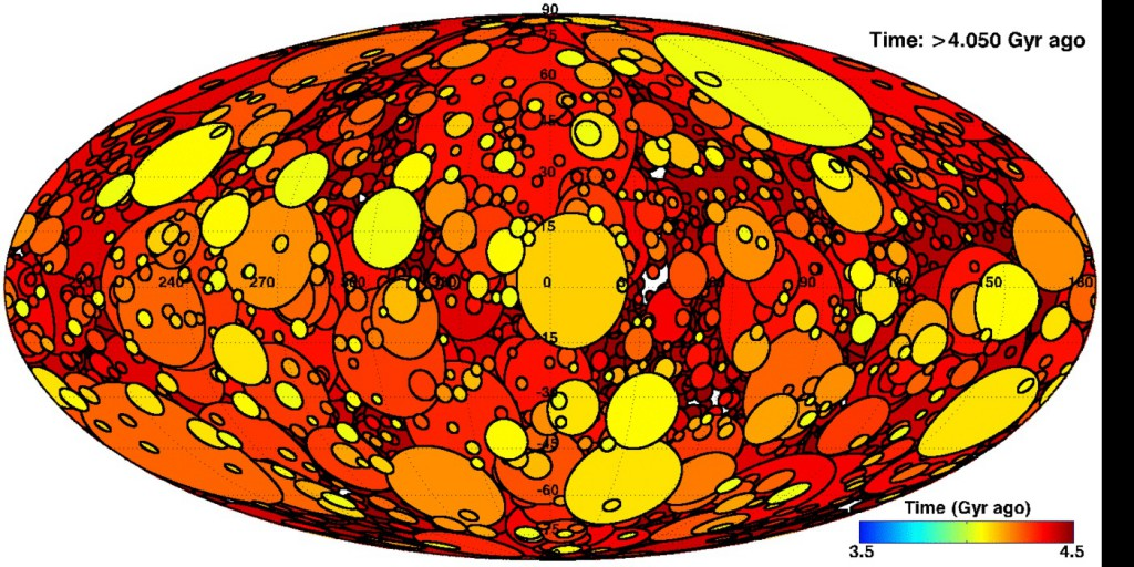 Impact craters completely churned Earth's early surface. That's probably how an Earth rock ended up on the Moon; it's how Earth life might have ended up on other worlds as well. (Credit: Simone Marchi et al)