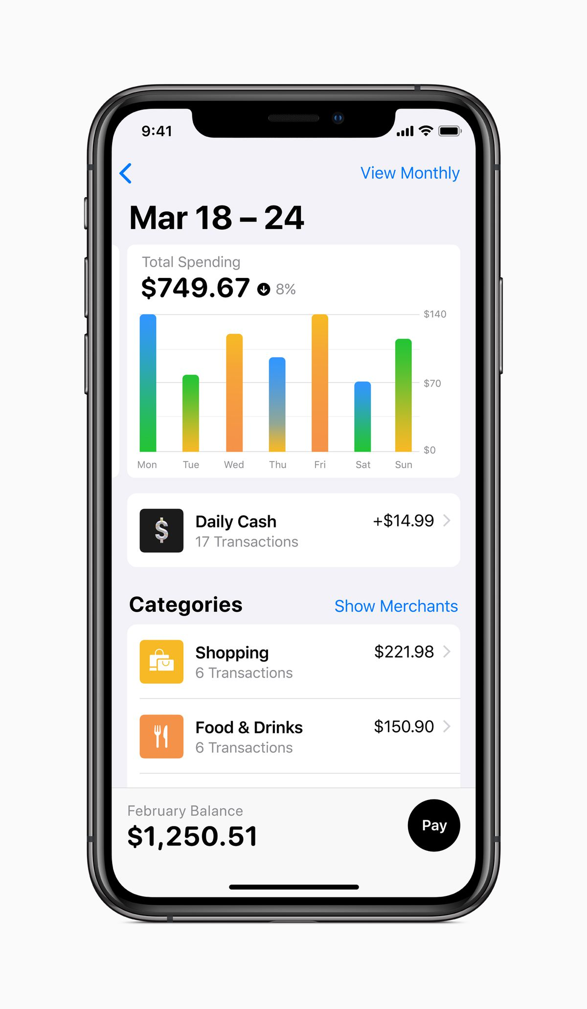 Apple Card breaks down your spending habits like a budgeting app would.