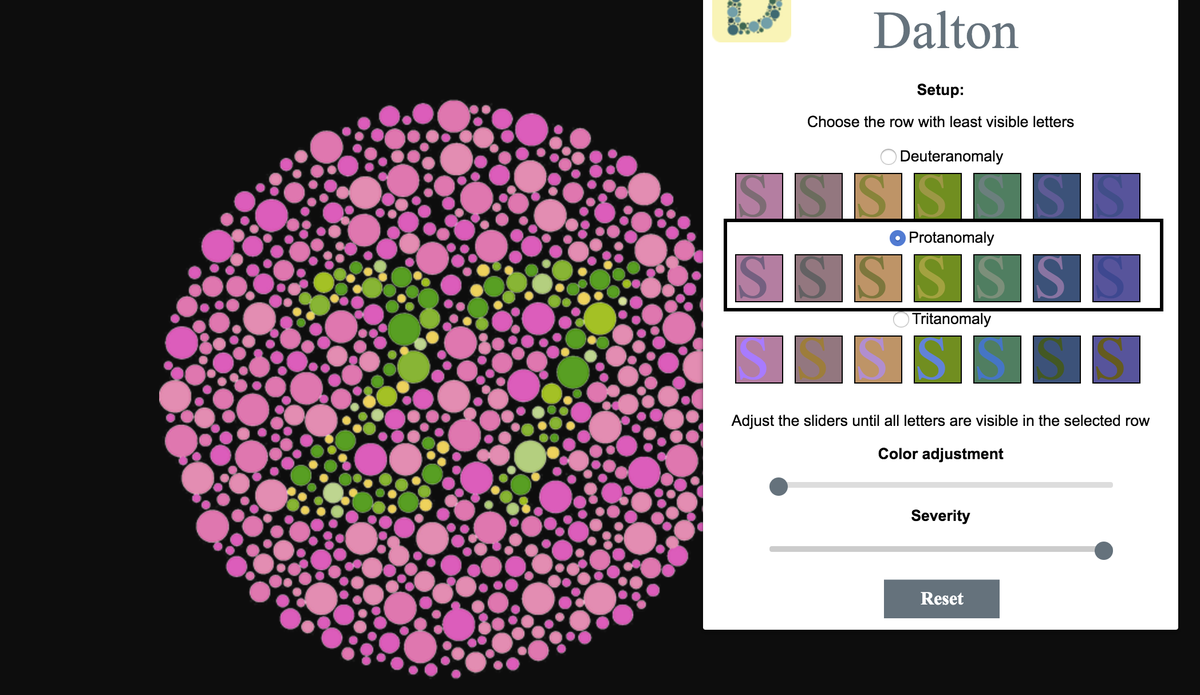 The Dalton colorblindness extension is a handy tool for the colorblind.