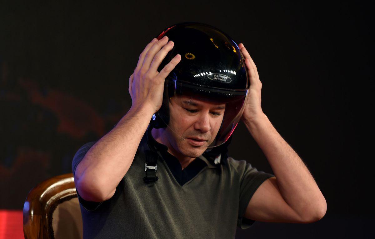 Uber co-founder Travis Kalanick making sure that dome stays safe.
