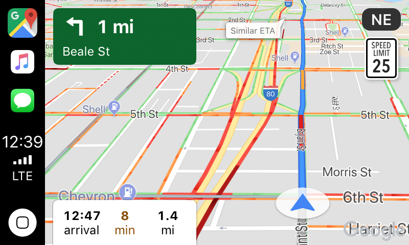 An example of Google Maps showing a speed limit, in the upper right.