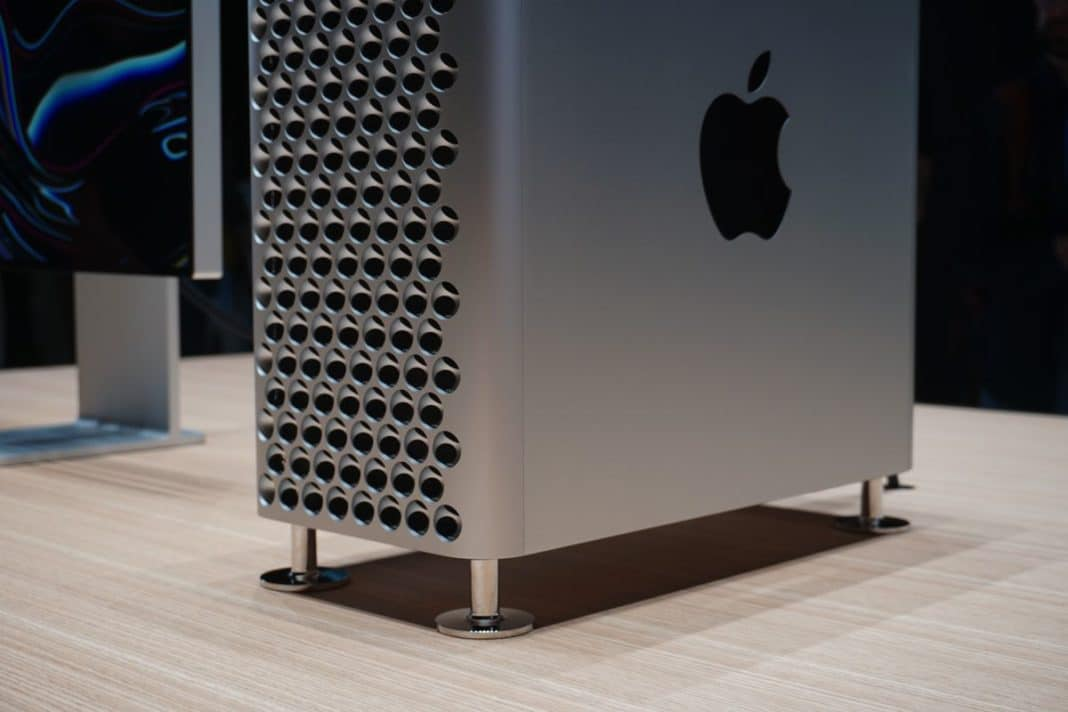 Check out the stainless steel legs that keep the Mac Pro raised off surfaces.
