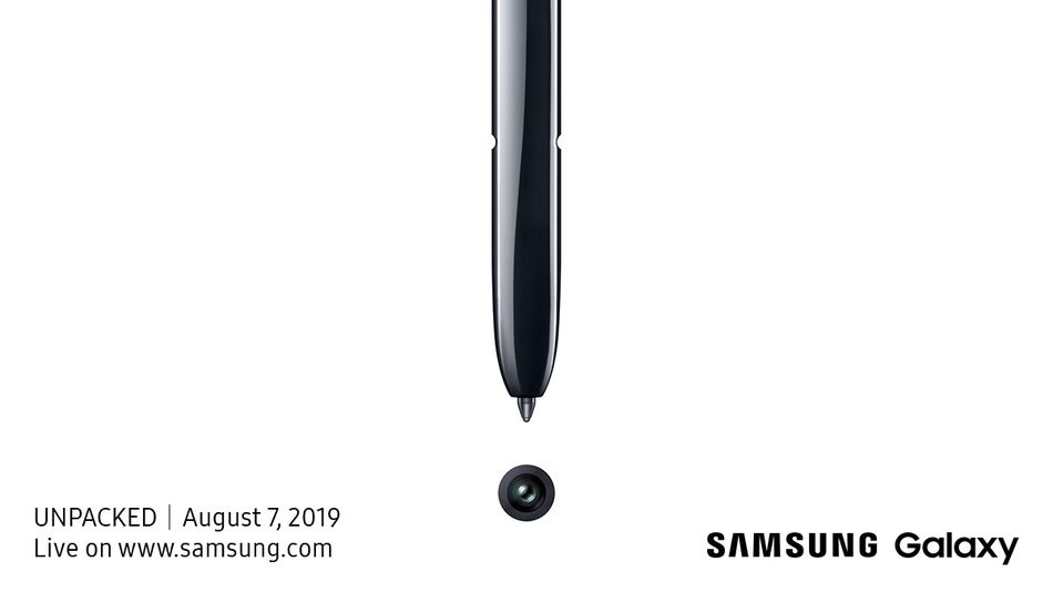 The invitation for the August Unpacked event appears to show a stylus and a camera lens.